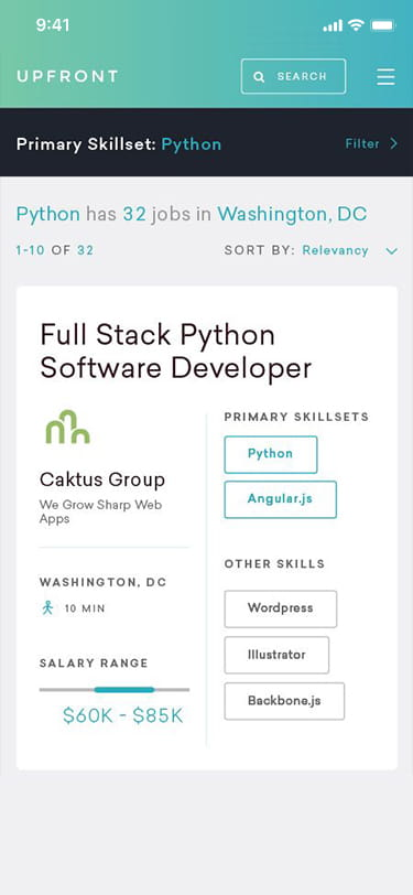 Example software developer hiring page on a mobile device.